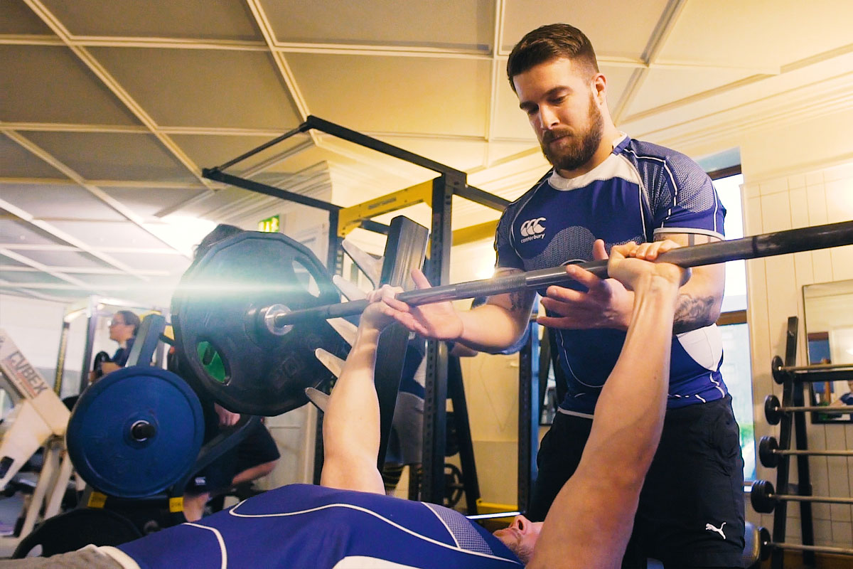 rugby players at the gym