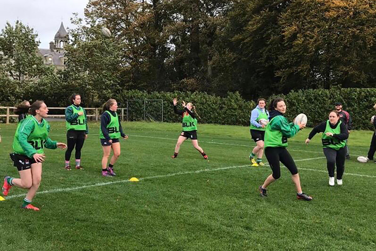Girls rugby training at the Women's Rugby Academy in Ireland