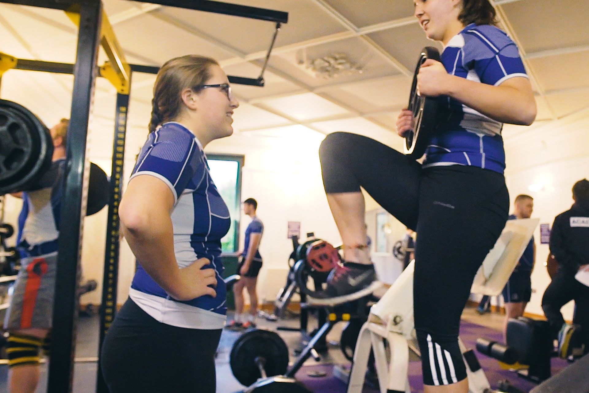 Female Rugby players training at the Rugby Academy Ireland gym